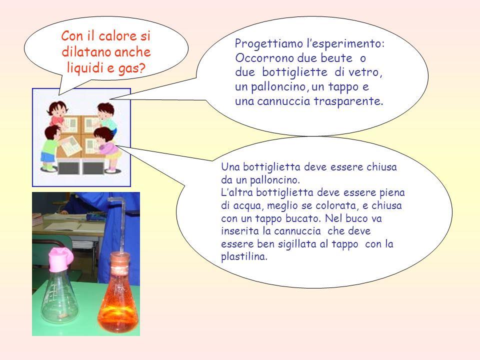 Con il calore si dilatano anche liquidi e gas? Progettiamo l'esperimento: Occorrono due beute o due bottigliette di vetro, un palloncino, un tappo e u