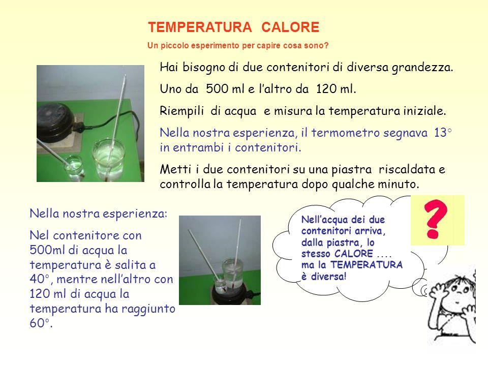 TEMPERATURA CALORE Un piccolo esperimento per capire cosa sono? Hai bisogno di due contenitori di diversa grandezza. Uno da 500 ml e l'altro da 120 ml