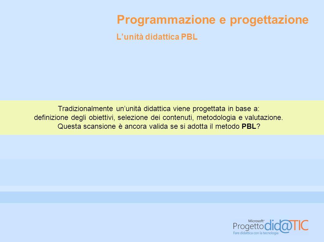 Programmazione e progettazione In teoria è possibile ricorrere alla metodologia PBL per sviluppare l'intero programma annuale didattico.