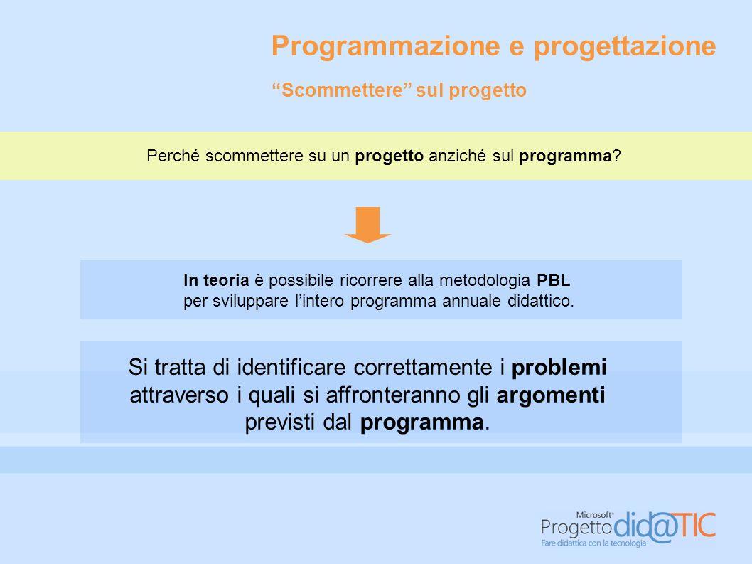 Programmazione e progettazione In teoria è possibile ricorrere alla metodologia PBL per sviluppare l'intero programma annuale didattico. Si tratta di