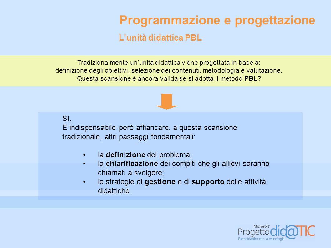 Programmazione e progettazione Tradizionalmente un'unità didattica viene progettata in base a: definizione degli obiettivi, selezione dei contenuti, m