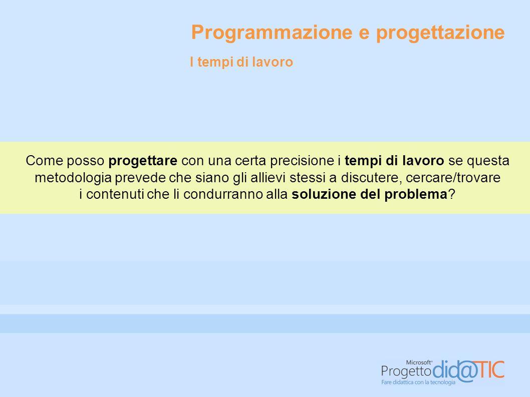 Programmazione e progettazione Come posso progettare con una certa precisione i tempi di lavoro se questa metodologia prevede che siano gli allievi st