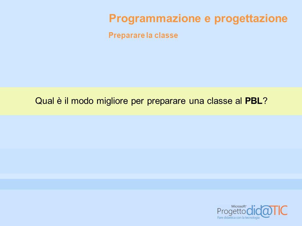 Programmazione e progettazione Qual è il modo migliore per preparare una classe al PBL? Preparare la classe