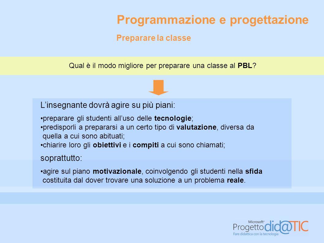 Programmazione e progettazione L'insegnante dovrà agire su più piani: preparare gli studenti all'uso delle tecnologie; predisporli a prepararsi a un c