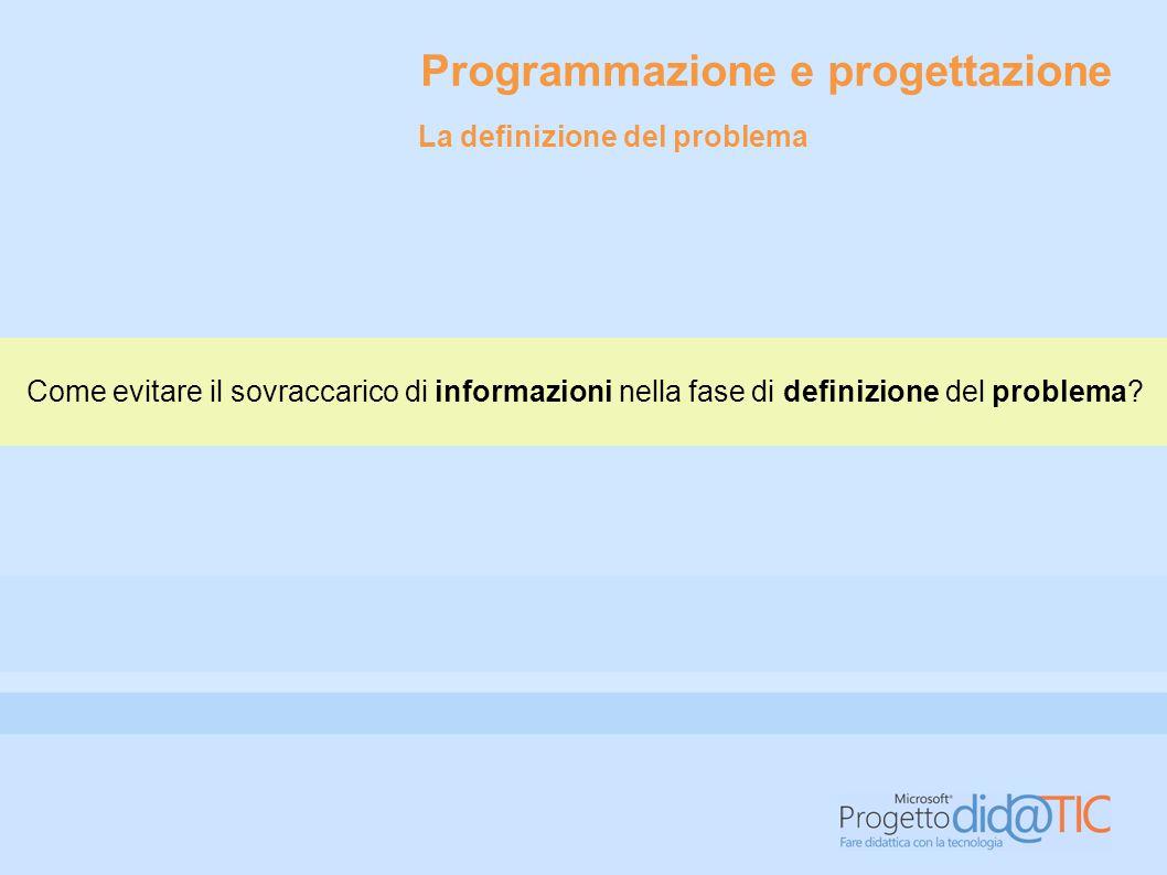 Programmazione e progettazione Come evitare il sovraccarico di informazioni nella fase di definizione del problema? La definizione del problema