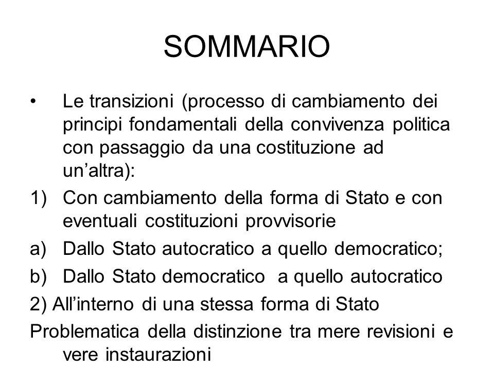SOMMARIO Le transizioni (processo di cambiamento dei principi fondamentali della convivenza politica con passaggio da una costituzione ad un'altra): 1