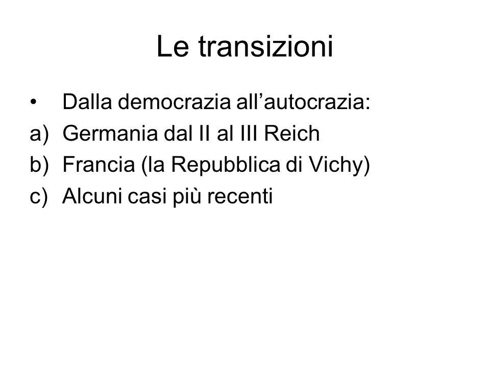 Le transizioni Dalla democrazia all'autocrazia: a)Germania dal II al III Reich b)Francia (la Repubblica di Vichy) c)Alcuni casi più recenti