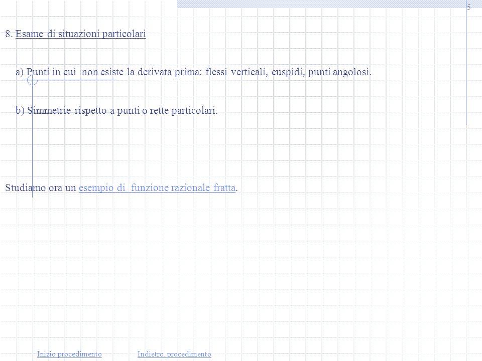 4 Inizio del procedimentoIndietro:procedimento 6. Studio del segno della derivata prima La funzione è crescente negli intervalli che sono soluzione de