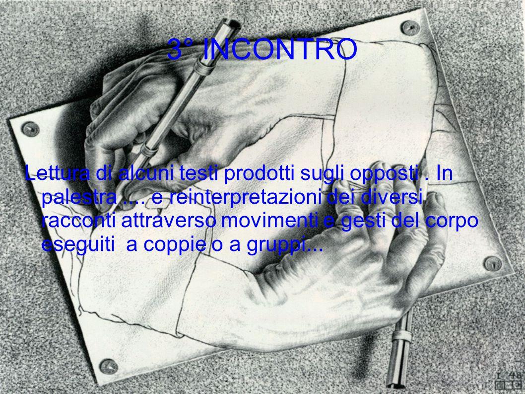 3° INCONTRO Lettura di alcuni testi prodotti sugli opposti. In palestra.... e reinterpretazioni dei diversi racconti attraverso movimenti e gesti del
