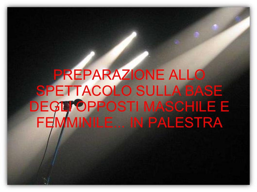 PREPARAZIONE ALLO SPETTACOLO SULLA BASE DEGLI OPPOSTI MASCHILE E FEMMINILE... IN PALESTRA