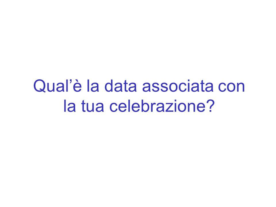 Qual'è la data associata con la tua celebrazione?
