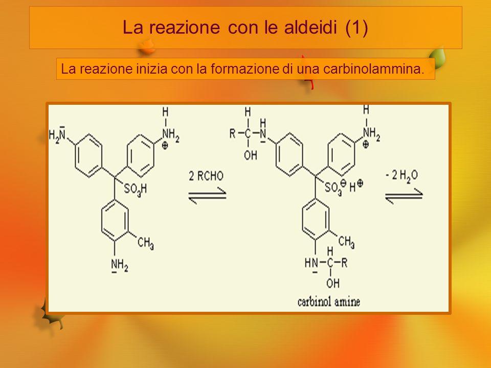 La reazione con le aldeidi (1) La reazione inizia con la formazione di una carbinolammina.