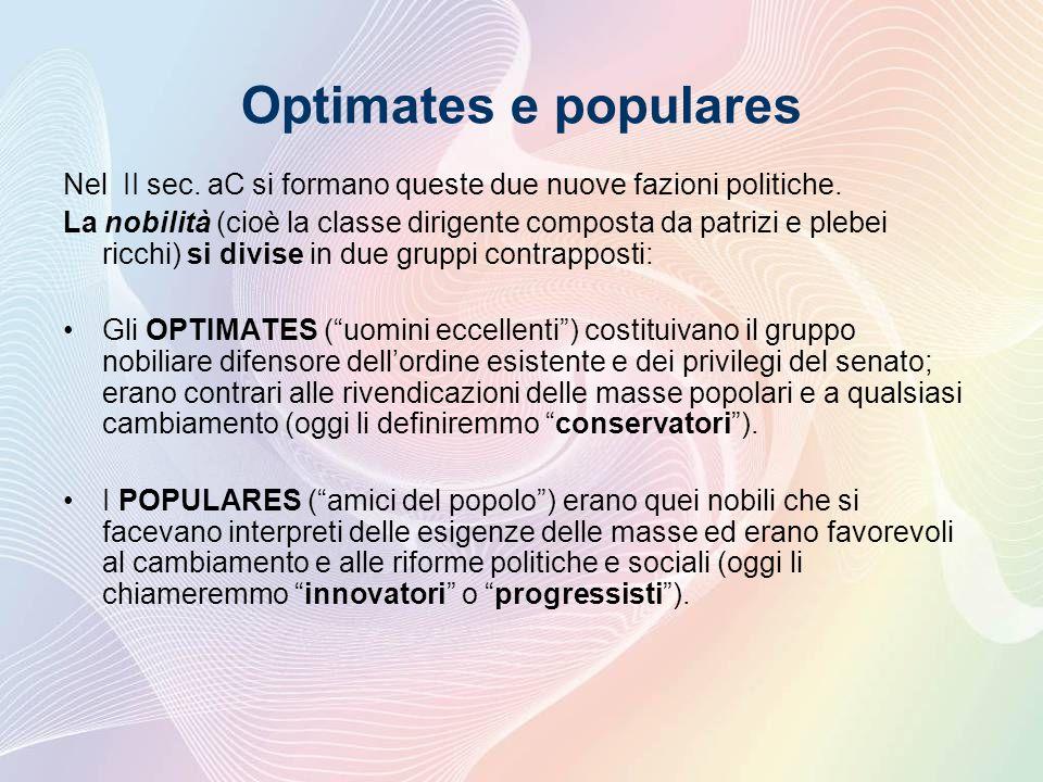 Optimates e populares Nel II sec.aC si formano queste due nuove fazioni politiche.