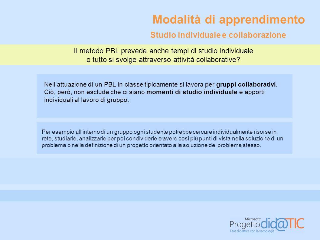 Il metodo PBL prevede anche tempi di studio individuale o tutto si svolge attraverso attività collaborative? Nell'attuazione di un PBL in classe tipic