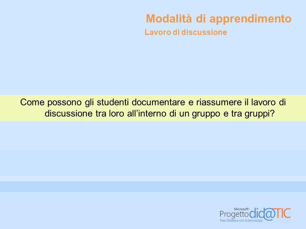 Modalità di apprendimento Come possono gli studenti documentare e riassumere il lavoro di discussione tra loro all'interno di un gruppo e tra gruppi.