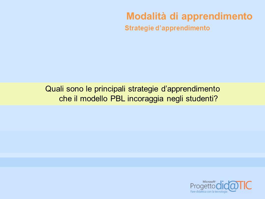Quali sono le principali strategie d'apprendimento che il modello PBL incoraggia negli studenti? Modalità di apprendimento Strategie d'apprendimento