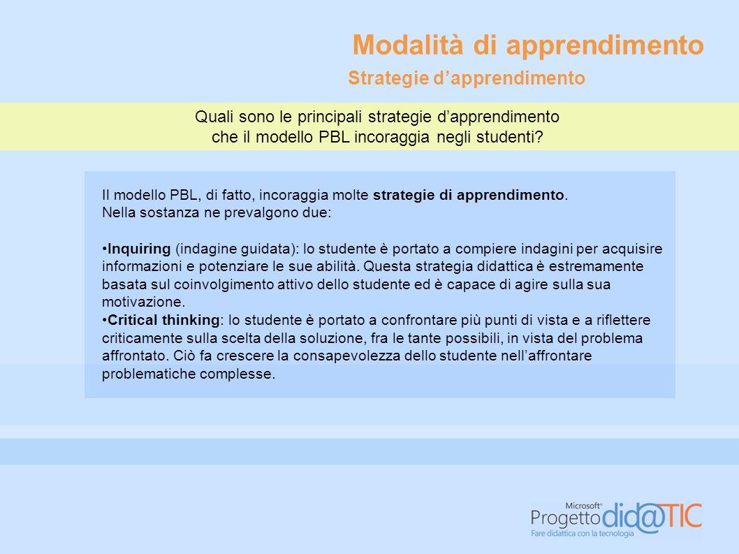 Quali sono le principali strategie d'apprendimento che il modello PBL incoraggia negli studenti? Il modello PBL, di fatto, incoraggia molte strategie