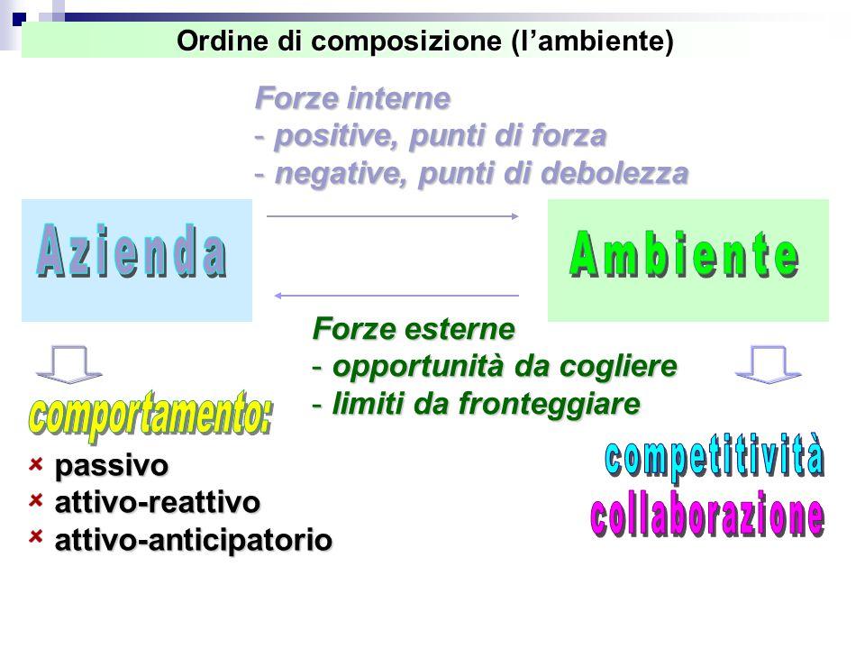 Ordine di composizione (l'ambiente) Forze esterne - opportunità da cogliere - limiti da fronteggiare Forze interne - positive, punti di forza - negative, punti di debolezza passivoattivo-reattivoattivo-anticipatorio