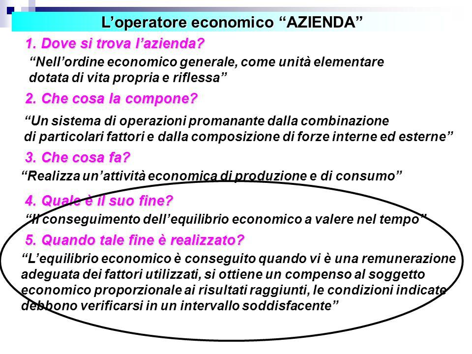 L'operatore economico AZIENDA 1.Dove si trova l'azienda.