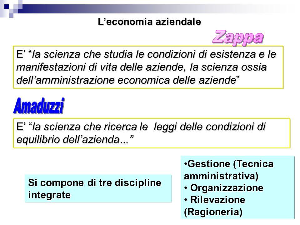 """L'economia aziendale E' """"la scienza che studia le condizioni di esistenza e le manifestazioni di vita delle aziende, la scienza ossia dell'amministraz"""