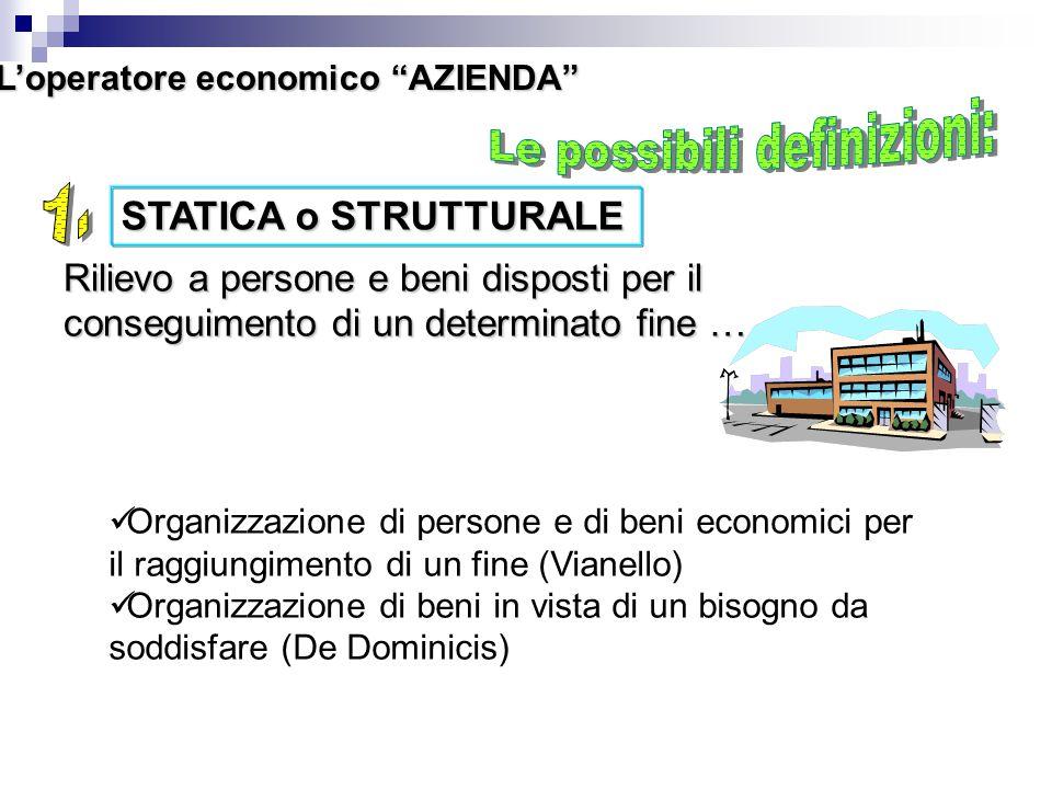 """L'operatore economico """"AZIENDA"""" STATICA o STRUTTURALE Rilievo a persone e beni disposti per il conseguimento di un determinato fine ……. Organizzazione"""