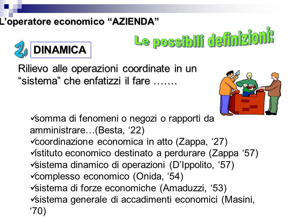 """L'operatore economico """"AZIENDA"""" DINAMICA Rilievo alle operazioni coordinate in un """"sistema"""" che enfatizzi il fare ……. somma di fenomeni o negozi o rap"""