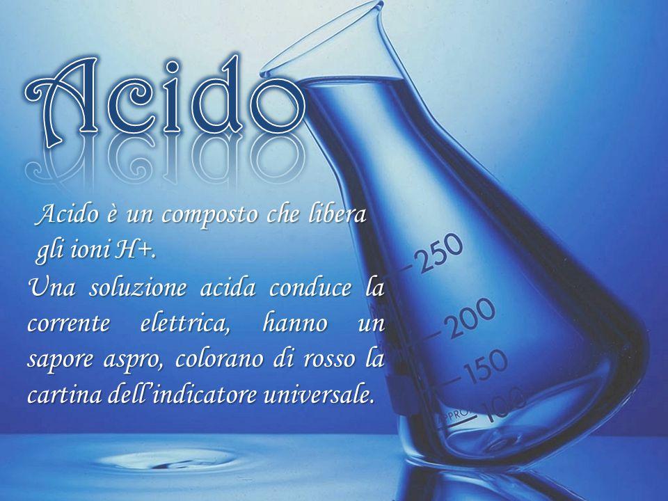 Una soluzione acida conduce la corrente elettrica, hanno un sapore aspro, colorano di rosso la cartina dell'indicatore universale. Acido è un composto
