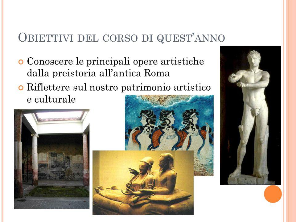 O BIETTIVI DEL CORSO DI QUEST ' ANNO Conoscere le principali opere artistiche dalla preistoria all'antica Roma Riflettere sul nostro patrimonio artist