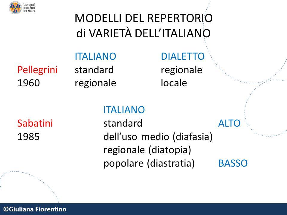 ©Giuliana Fiorentino MODELLI DEL REPERTORIO di VARIETÀ DELL'ITALIANO ITALIANO DIALETTO Pellegrinistandardregionale 1960regionalelocale ITALIANO Sabati