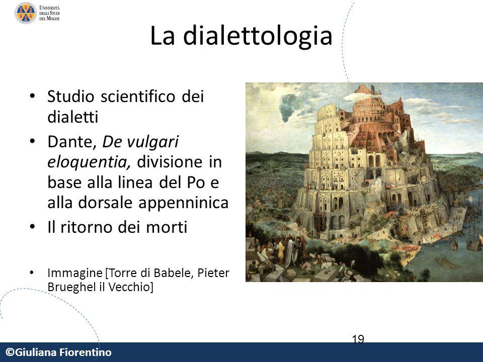 ©Giuliana Fiorentino 19 La dialettologia Studio scientifico dei dialetti Dante, De vulgari eloquentia, divisione in base alla linea del Po e alla dors
