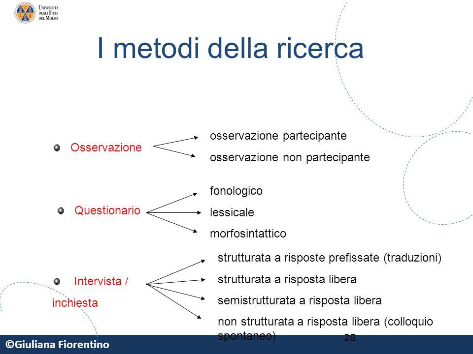 ©Giuliana Fiorentino 28 Osservazione Questionario Intervista / inchiesta I metodi della ricerca osservazione partecipante osservazione non partecipant
