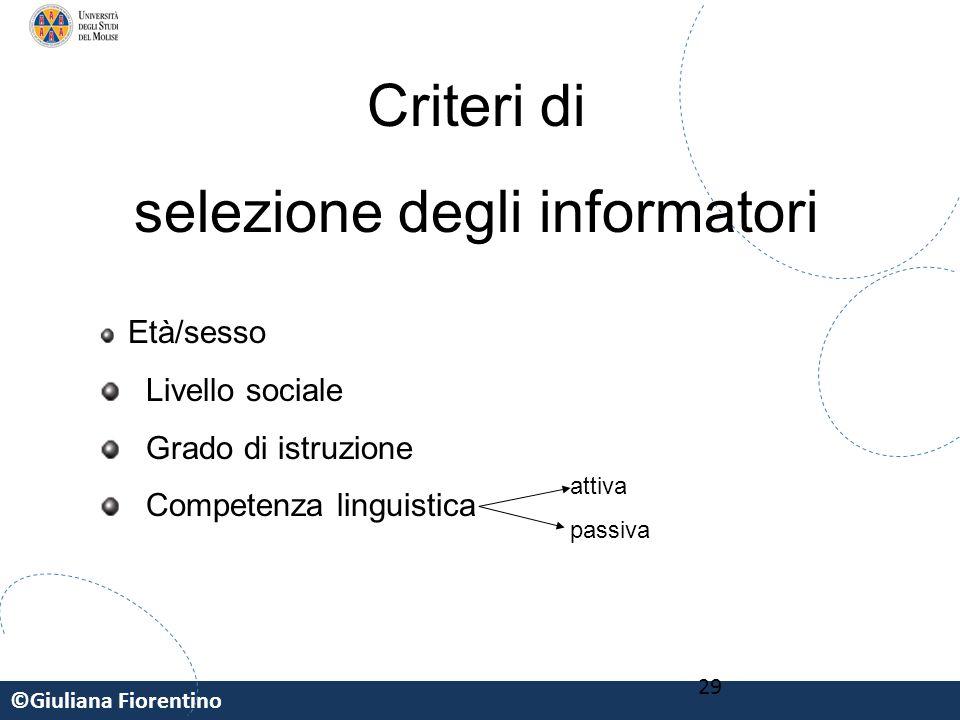 ©Giuliana Fiorentino 29 Criteri di selezione degli informatori Età/sesso Livello sociale Grado di istruzione Competenza linguistica attiva passiva