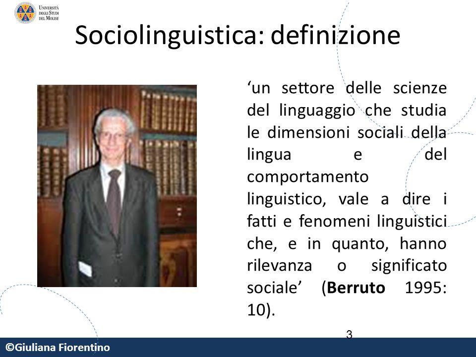 ©Giuliana Fiorentino Sociolinguistica: definizione 'un settore delle scienze del linguaggio che studia le dimensioni sociali della lingua e del compor
