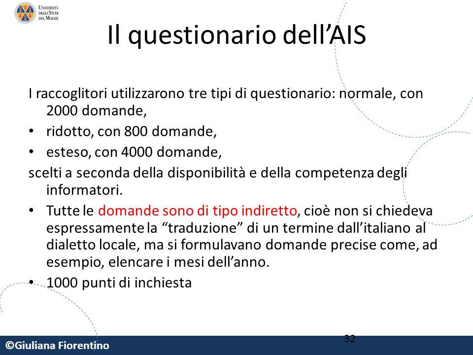©Giuliana Fiorentino 32 Il questionario dell'AIS I raccoglitori utilizzarono tre tipi di questionario: normale, con 2000 domande, ridotto, con 800 dom