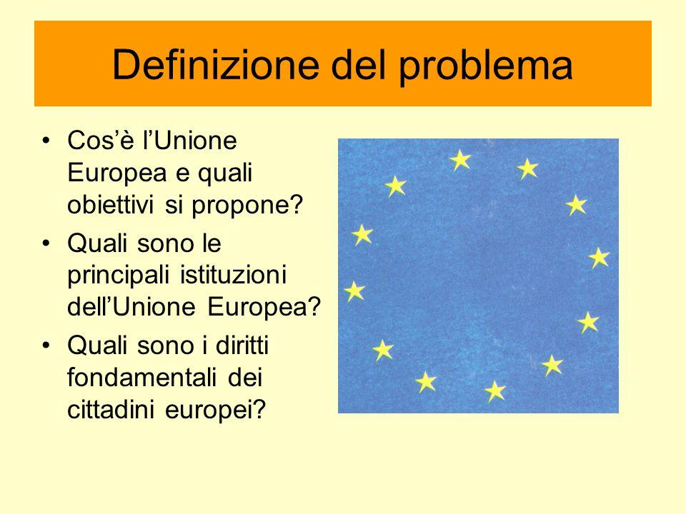 Definizione del problema Cos'è l'Unione Europea e quali obiettivi si propone? Quali sono le principali istituzioni dell'Unione Europea? Quali sono i d