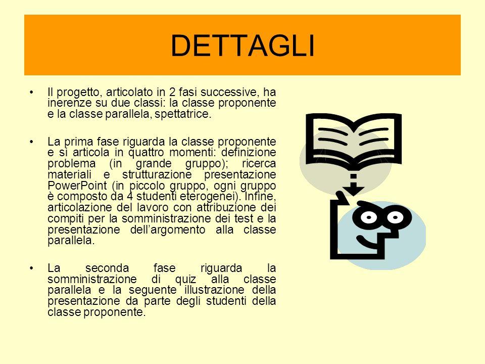 DETTAGLI Il progetto, articolato in 2 fasi successive, ha inerenze su due classi: la classe proponente e la classe parallela, spettatrice. La prima fa