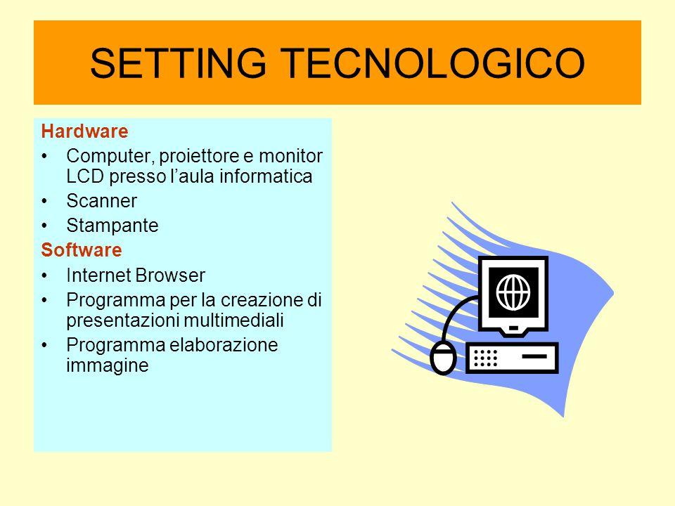 SETTING TECNOLOGICO Hardware Computer, proiettore e monitor LCD presso l'aula informatica Scanner Stampante Software Internet Browser Programma per la