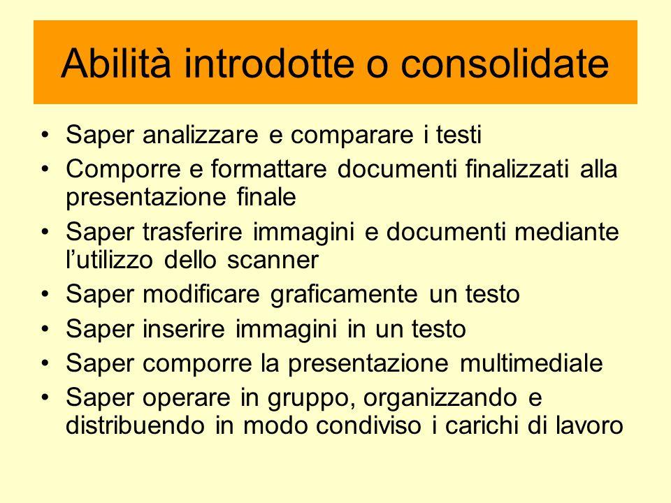 Abilità introdotte o consolidate Saper analizzare e comparare i testi Comporre e formattare documenti finalizzati alla presentazione finale Saper tras