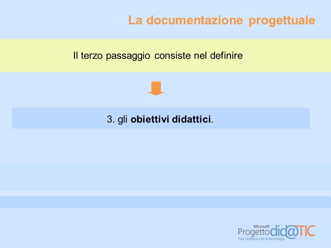 La documentazione progettuale Il terzo passaggio consiste nel definire 3. gli obiettivi didattici.