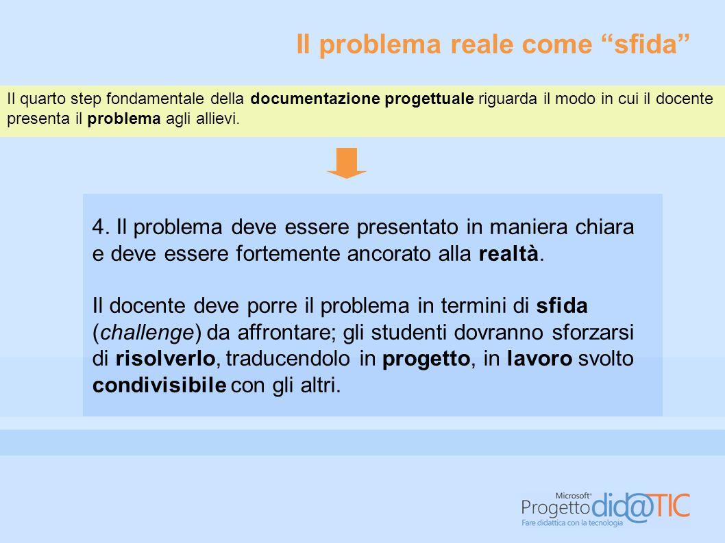 Il problema reale come sfida Il quarto step fondamentale della documentazione progettuale riguarda il modo in cui il docente presenta il problema agli allievi.