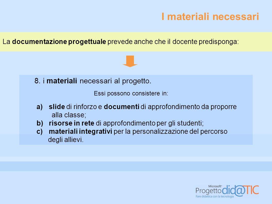 I materiali necessari La documentazione progettuale prevede anche che il docente predisponga: 8.