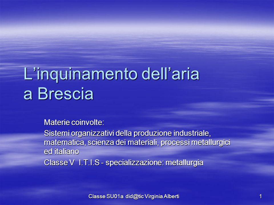 Classe SU01a did@tic Virginia Alberti 1 L'inquinamento dell'aria a Brescia Materie coinvolte: Sistemi organizzativi della produzione industriale, mate