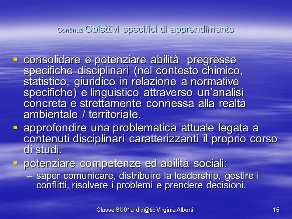 Classe SU01a did@tic Virginia Alberti15 Continua Obiettivi specifici di apprendimento  consolidare e potenziare abilità pregresse specifiche discipli