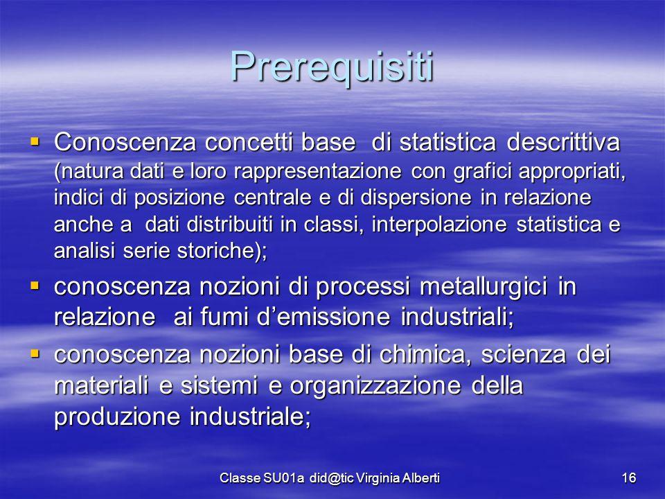 Classe SU01a did@tic Virginia Alberti16 Prerequisiti  Conoscenza concetti base di statistica descrittiva (natura dati e loro rappresentazione con gra
