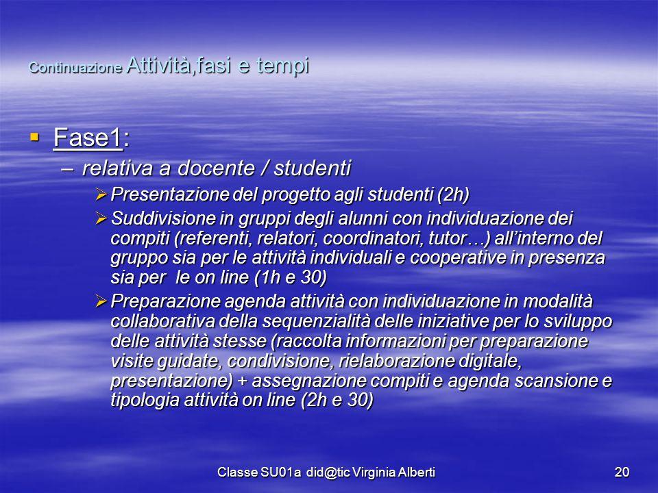 Classe SU01a did@tic Virginia Alberti20 Continuazione Attività,fasi e tempi  Fase1: –relativa a docente / studenti  Presentazione del progetto agli