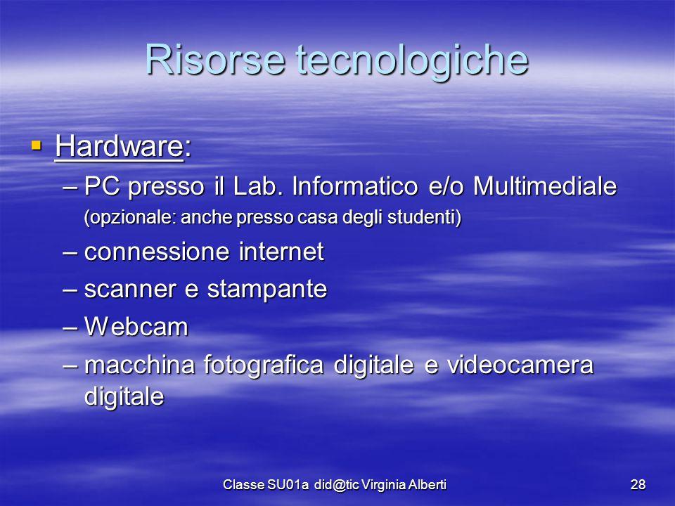 Classe SU01a did@tic Virginia Alberti28 Risorse tecnologiche  Hardware: –PC presso il Lab. Informatico e/o Multimediale (opzionale: anche presso casa