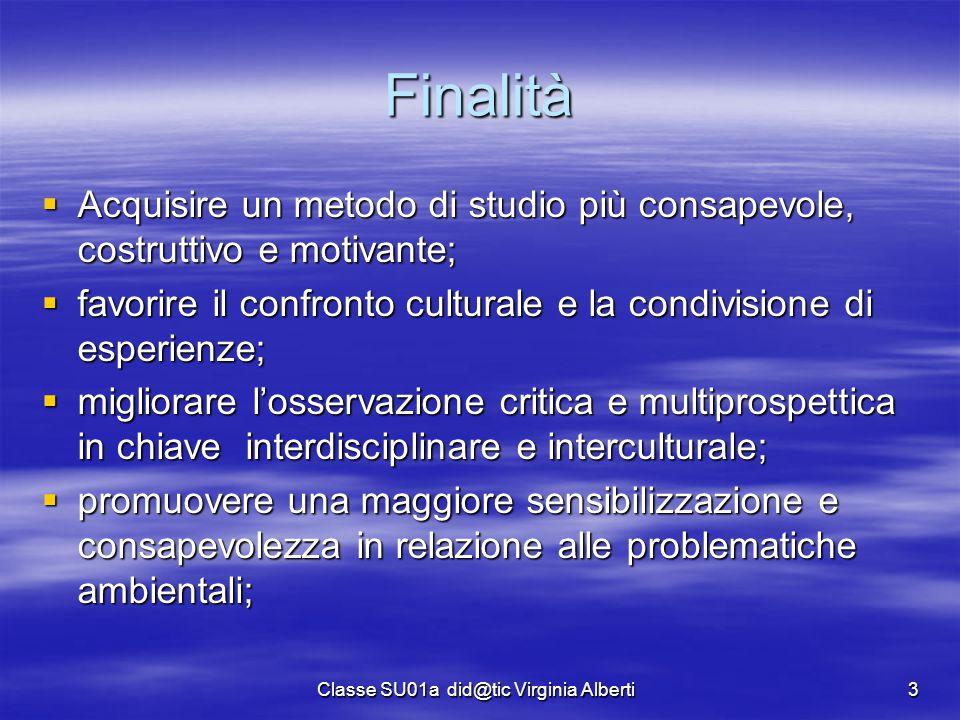 Classe SU01a did@tic Virginia Alberti3 Finalità  Acquisire un metodo di studio più consapevole, costruttivo e motivante;  favorire il confronto cult