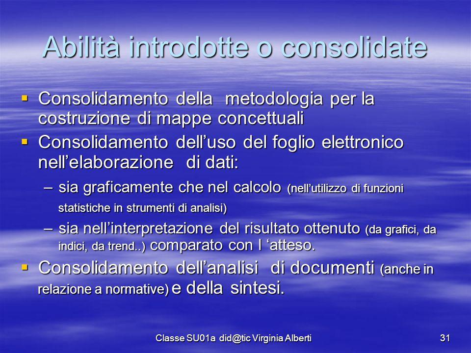 Classe SU01a did@tic Virginia Alberti31 Abilità introdotte o consolidate  Consolidamento della metodologia per la costruzione di mappe concettuali 