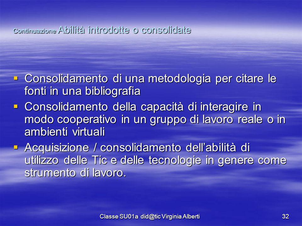 Classe SU01a did@tic Virginia Alberti32 Continuazione Abilità introdotte o consolidate  Consolidamento di una metodologia per citare le fonti in una
