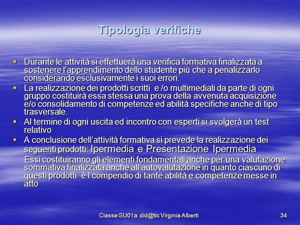 Classe SU01a did@tic Virginia Alberti34 Tipologia verifiche  Durante le attività si effettuerà una verifica formativa finalizzata a sostenere l'appre